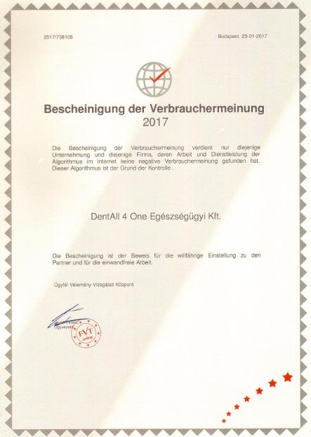 Zertifikat für Vertrauenswürdiges Unternehmen 2017