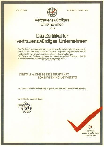 Zertifikat Vertrauenswürdiges Unternehmen